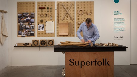 Gearoid Muldowney in the Superfolk live studio at Ó making a Superfolk Folding Stool, part of the Design & Crafts Council of Ireland's LDF presence.