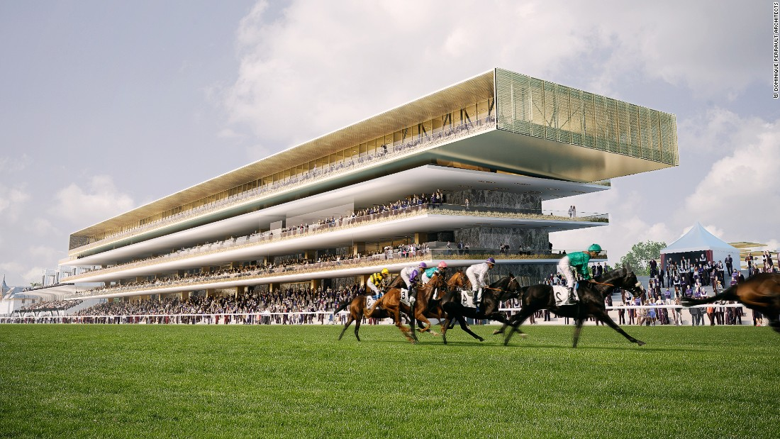 Paris' Longchamp racecourse hosts one of the world's most famous horse races -- the Prix de l'Arc de Triomphe. The site currently houses two huge grandstands -- side by side -- built in the 1960s. This computer-generated image (and the ones which follow) show how the new design will transform the site when completed.