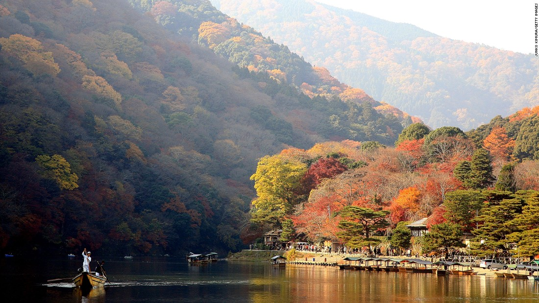 Not hard to see why fall is among the most popular times to visit Kyoto. Boat rides on Kyoto's Katsura River, in Arashiyama district, are a great way to take in the season's beauty.