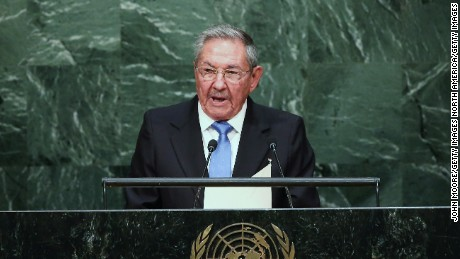 NEW YORK, NY - SEPTEMBER 28:  Cuban President Raul Castro addresses the United Nations General Assembly on September 28, 2015 in New York City. World leaders gathered for the 70th session of the annual meeting.  (Photo by John Moore/Getty Images)