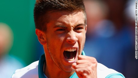 MONTE-CARLO, MONACO - APRIL 13:  Borna Coric of Croatia celebrates a point against Alexandr Dolgopolov of Ukraine during day two of the Monte Carlo Rolex Masters tennis at the Monte-Carlo Sporting Club on April 13, 2015 in Monte-Carlo, Monaco.  (Photo by Julian Finney/Getty Images)