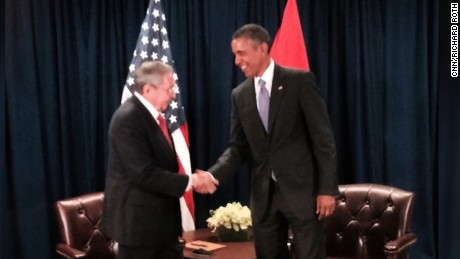 U.S. President Barack Obama meets with Cuban leader Raul Castro at the United Nations. September 29, 2015