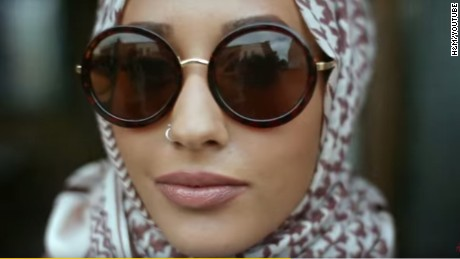 An ad for fashion retailer H&M, featuring a hijab.