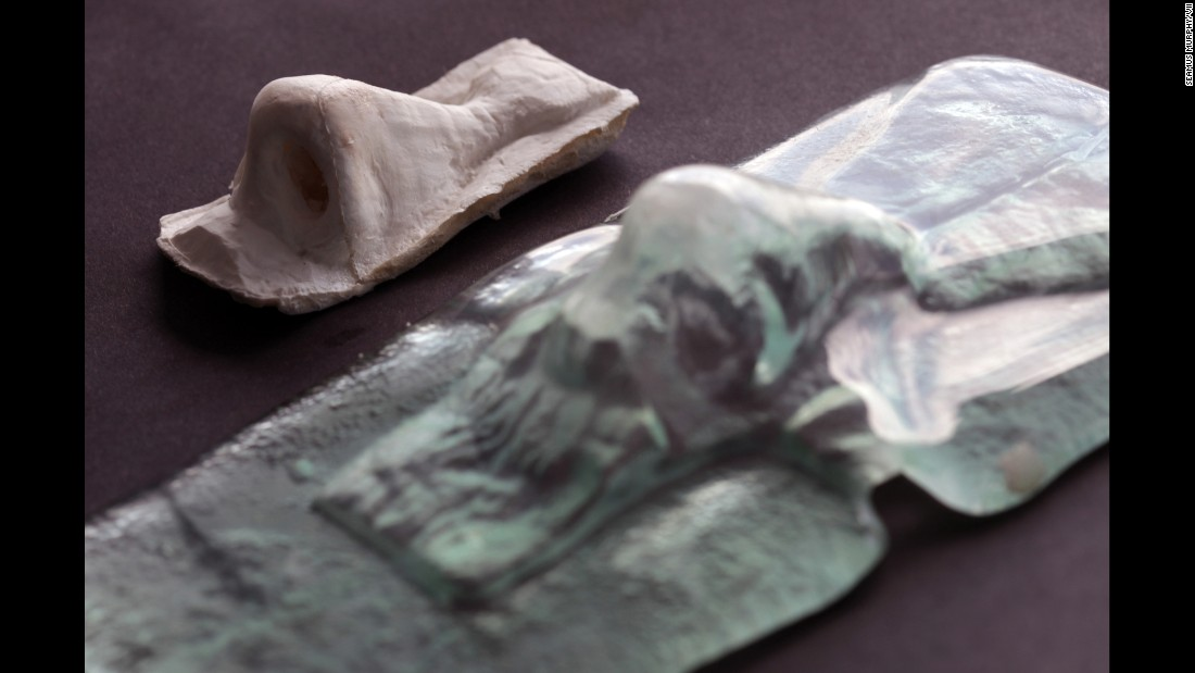 A mold and prototype of a nose. The nostrils will be created later.