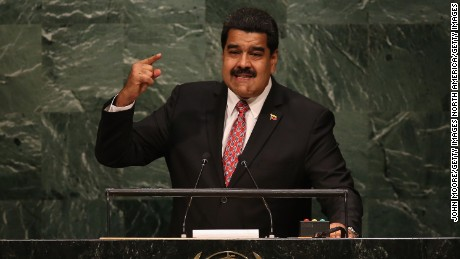 NEW YORK, NY - SEPTEMBER 29:  Nicolas Maduro, President of Venezuela, addresses the United Nations General Assembly at UN headquarters on September 29, 2015 in New York City. World leaders gathered for the 70th annual UN General Assembly meeting. Maduro was holding a copy of the historic Jamaica Letter, written by revolutionary leader Simon Bolivar in 1815.  (Photo by John Moore/Getty Images)