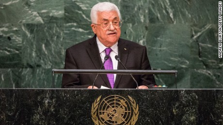Palestinian President Mahmoud Abbas speaks at the United Nations General Assembly on September 30, 2015, in New York City.