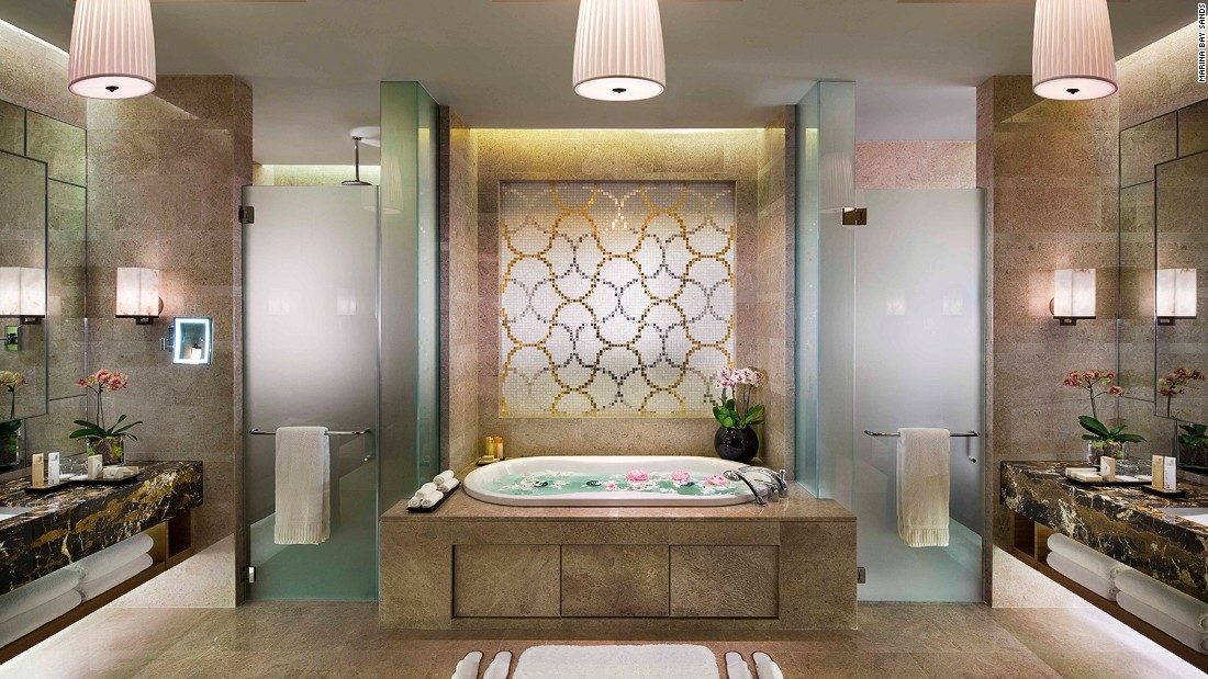 With multiple bedrooms, bathrooms and living rooms, there's no shortage of space for the elite high-rollers and celebs invited to stay at Marina Bay Sands's enormous Chairman Suite.