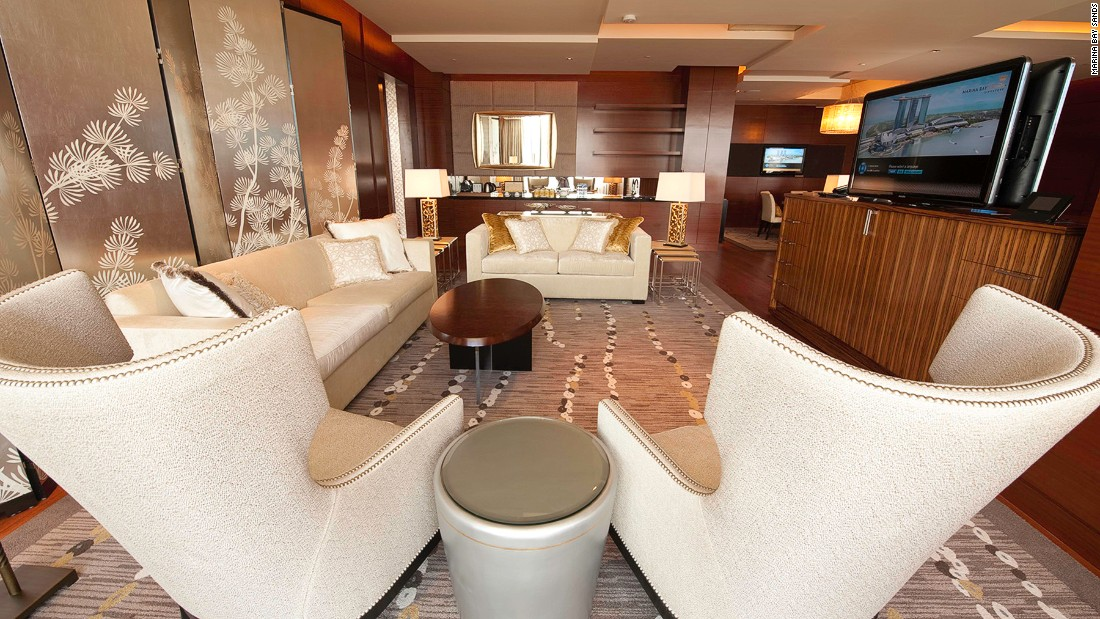 Marina Bay Sands' VIP guests are put up in the Chairman Suite, where a night's stay is strictly by invitation only -- the hotel won't even reveal what it costs.