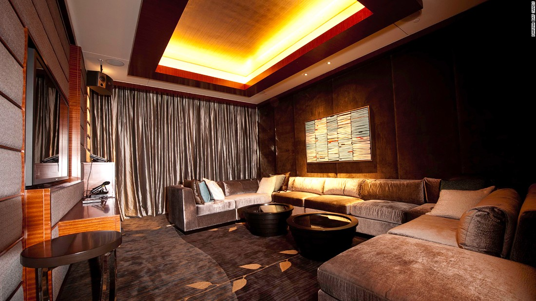 Marina Bay Sands's Chairman Suite has all the makings of a great night in: a media room, karaoke and a baby grand piano. <br />