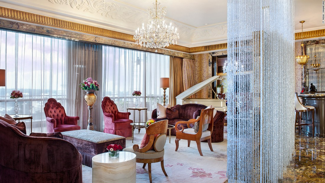 The Presidential Suite's decadent furnishings include custom-made crystal chandeliers and elaborate statement artworks.