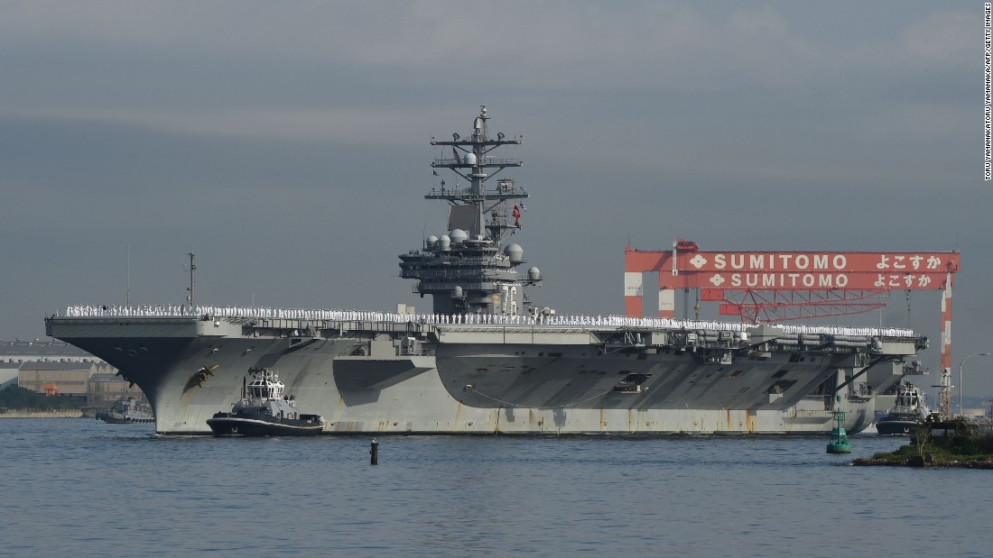 The Nimitz-class aircraft carrier USS Ronald Reagan (CVN 76) arrives at the U.S. Navy base in Yokosuka, a suburb of Tokyo, Japan, on October 1, 2015. The Reagan is the fifth U.S. carrier forward deployed to Japan following USS George Washington (CVN 73), USS Kitty Hawk (CV 63), USS Independence (CV 62) and USS Midway (CV 41), according to the Navy. Click through the gallery to see more US aircraft carriers.