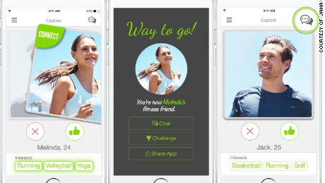 Jaha, a Tinder-like app for fitness, hooks people up who share similar exercise habits.