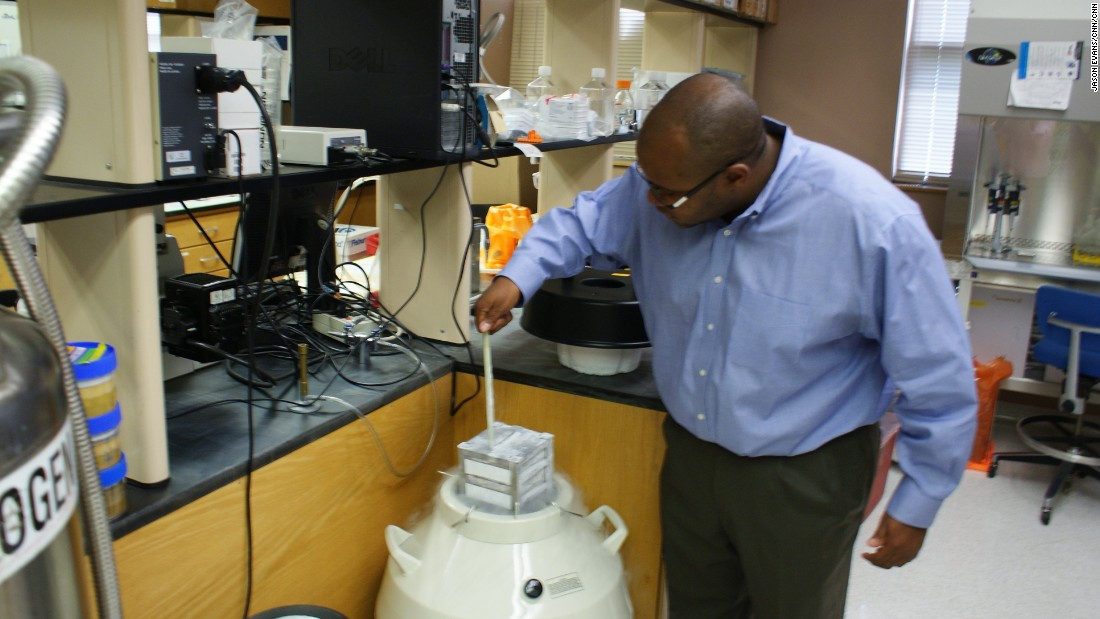 Franklin West, assistant professor of animal and dairy science at the University of Georgia, pulls out a storage tank of animal cells. West and another researcher are developing a process to convert skin cells from endangered species into stem cells.