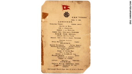 This 100 year-old luncheon menu fetched a Titanic price at a September 30 auction.