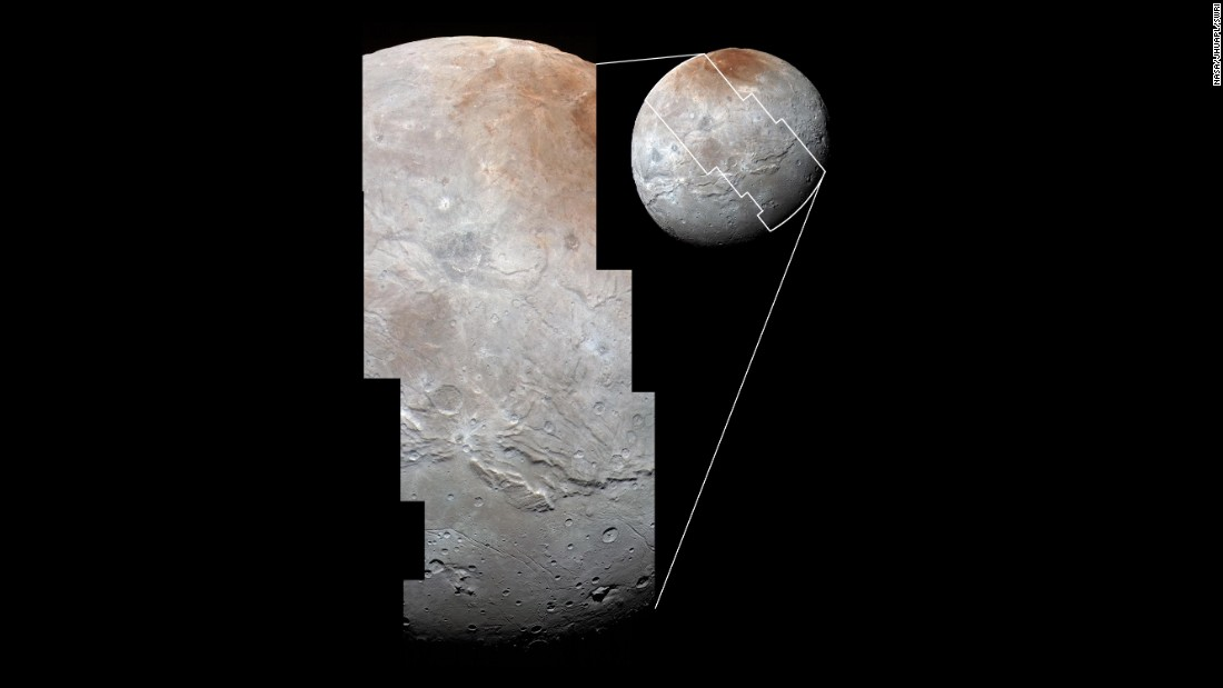"Images from two instruments on New Horizons are combined in this photo to <a href=""http://www.nasa.gov/feature/pluto-s-big-moon-charon-reveals-a-colorful-and-violent-history"" target=""_blank"">show Charon's cratered uplands</a> at the top and a series of canyons. The bottom of the image shows rolling plains."