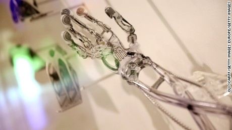 LONDON, ENGLAND - OCTOBER 08:  A 3D printed prosthetic arm is displayed in the exhibition '3D: printing the future' in the Science Museum on October 8, 2013 in London, England. The exhibition, which opens to the public tomorrow, features over 600 3D printed objects ranging from: replacement organs, artworks, aircraft parts and a handgun.   (Photo by Oli Scarff/Getty Images)