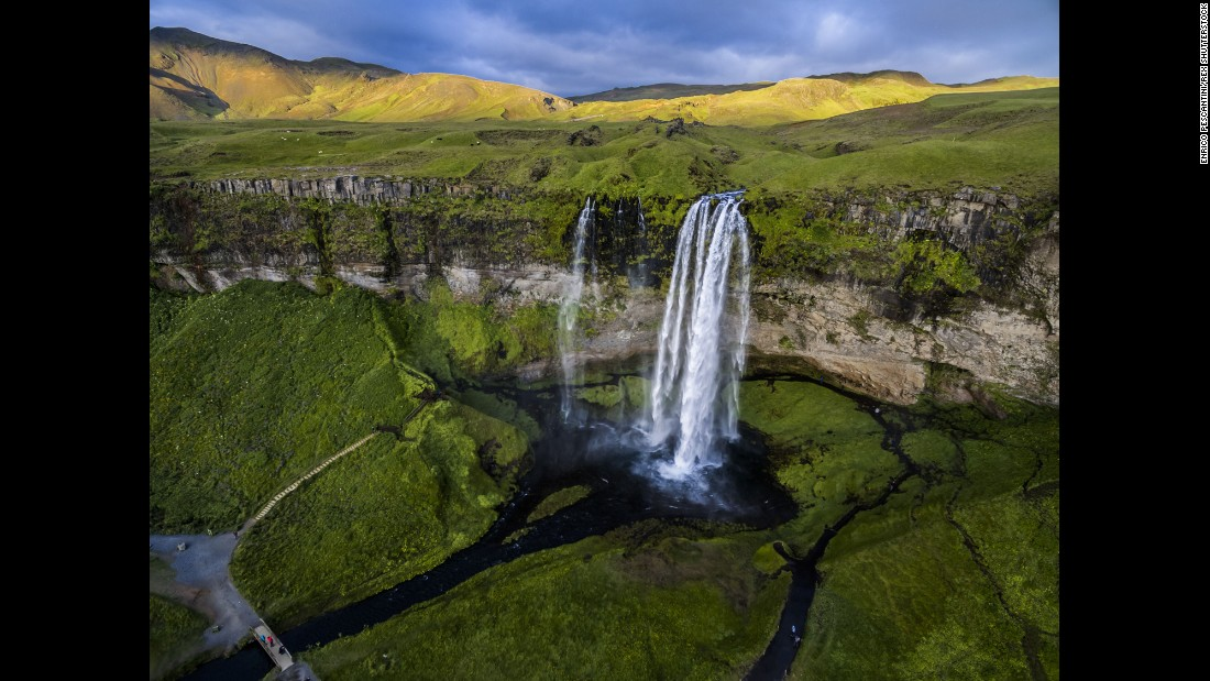 Photographer Enrico Pescantini used a drone to capture this view of Iceland's Seljalandsfoss waterfall. For a different perspective, it's possible to hike behind the waterfall and view the cascades from the inside out.