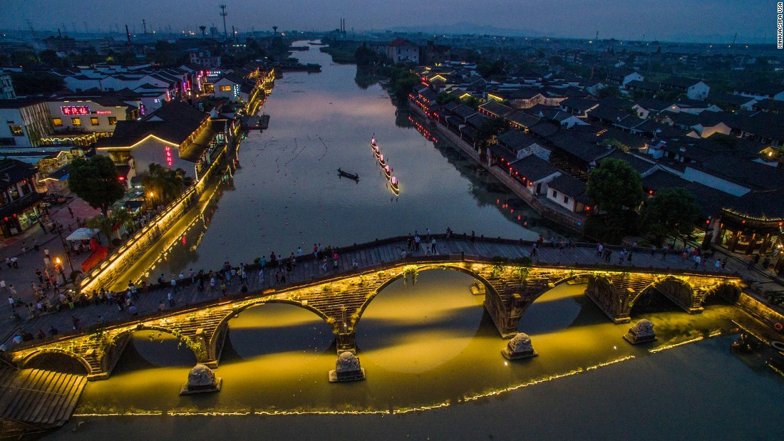 A bridge is lit up for Mid-Autumn Festival. Lanterns and lights are an important part of the annual festival celebrated by the Chinese and Vietnamese, which this year fell in late September.