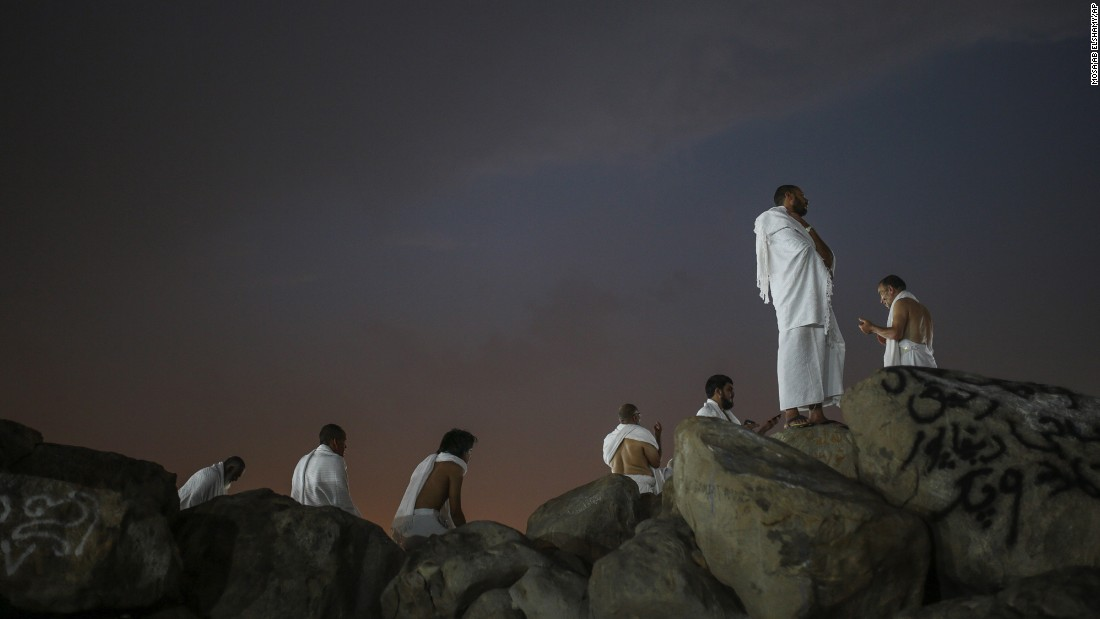 Muslim pilgrims pray on Mount Arafat near the holy city of Mecca. Mount Arafat is where Islam's Prophet Mohammed is believed to have delivered his last sermon to tens of thousands of followers about 1,400 years ago.