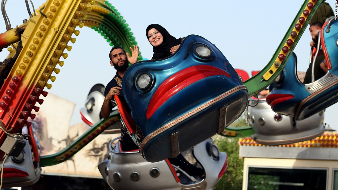 Eid al-Adha was celebrated by Muslims worldwide on September 22 and 23. Here, revelers in Baghdad enjoy an amusement park.