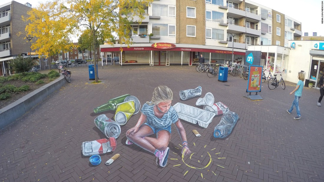 Dutch artist Leon Keer has created incredible 3-D illustrations on streets around the world. This piece in Breda was commissioned by the local council to raise awareness about littering.