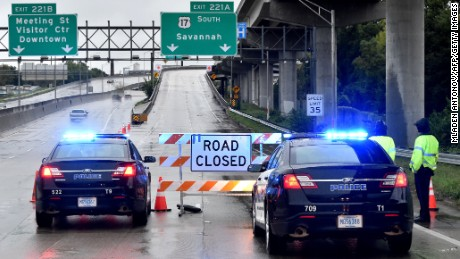 Police block an entrance to Highway 17 in Charleston, South Carolina, on October 4.