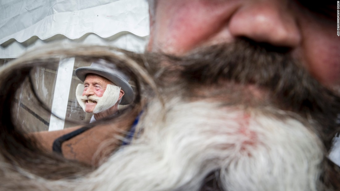 A contestant of the World Beard and Moustache Championships poses for a picture Saturday, October 3, in Leogang, Austria.