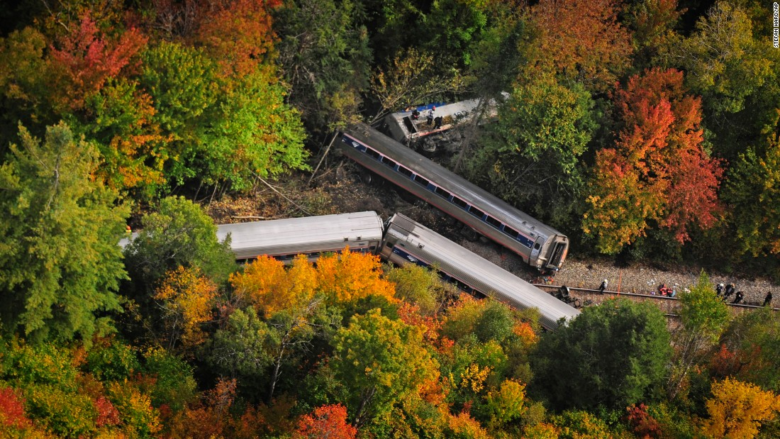 An Amtrak passenger train derailed on Monday, October 5, in Northfield, Vermont. The train, the Vermonter, was headed to Washington, D.C.