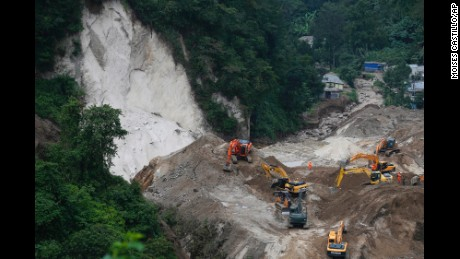 Search efforts continue for victims of a fatal landslide in Cambray, Guatemala, on Monday, October 5.