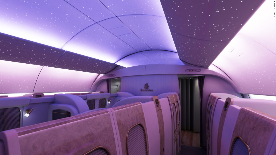 For Emirates Airlines the company created interiors with high ceilings that host LED lights that emulate the night sky as it appears in Dubai.