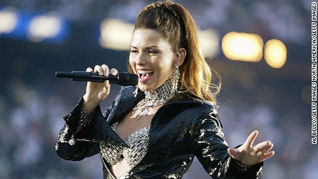 Shania Twain performs during the halftime show of the 2003 Super Bowl.