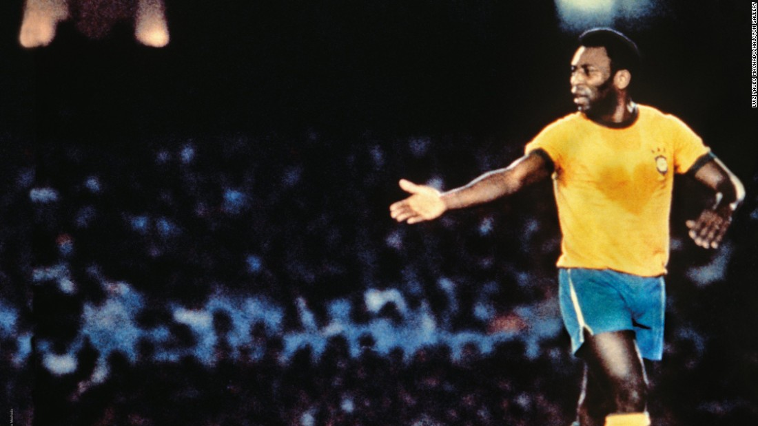 "Luiz Paulo Machado's famous photograph was taken during a friendly match in October 1976 where a heart appears on Pele's bright yellow Brazil shirt. It earned the title ""The Heart of the King."" Pele won three World Cup titles with his country, in 1958, 1962 and 1970."