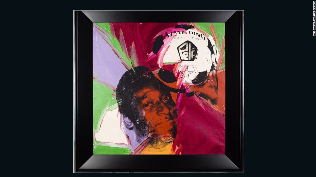 "The grace and skill of Brazilian legend Pele captured the eye of pop art pioneer Andy Warhol, who produced this portrait after meeting the footballer in the 1970s. It features in an exhibition called ""Pele: Art, Life, Football"" at the Halcyon Gallery in London. Pele said of Warhol: ""He gave continuity to my life and my message outside of the football pitch ... It's because of him that today you see many artists who have works of me."""
