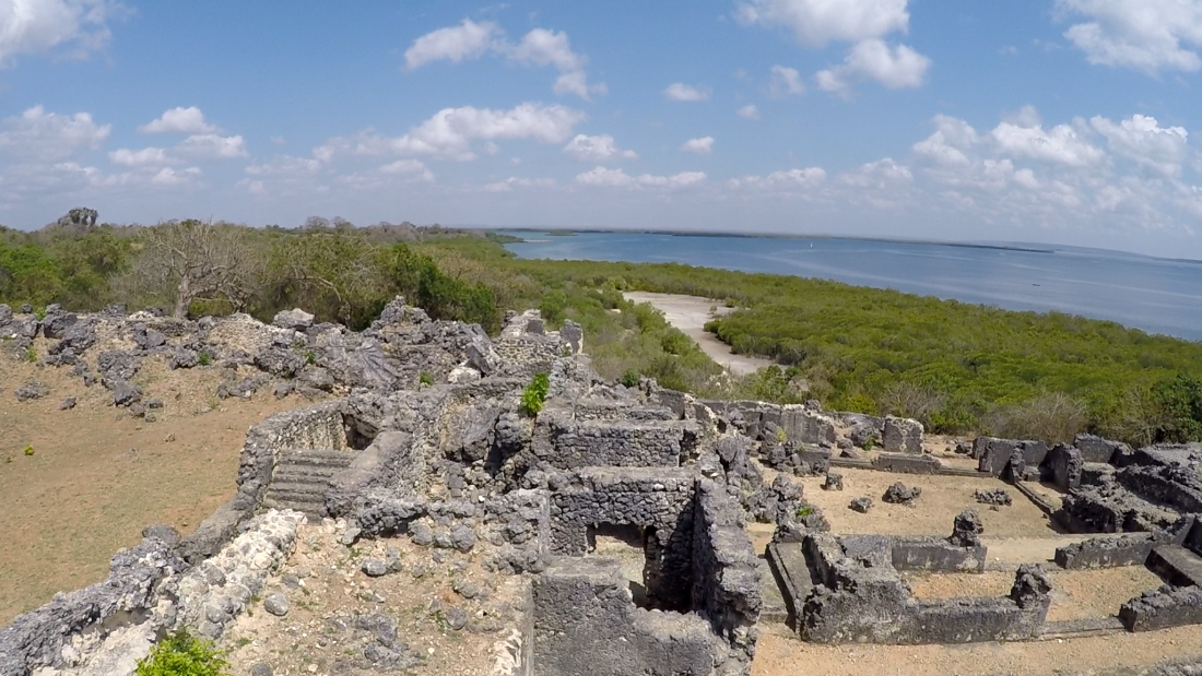 Ruins of the palace of Husuni Kubwa, looking out to the Indian ocean. Through international trade, sultans of Kilwa amassed great wealth and power.