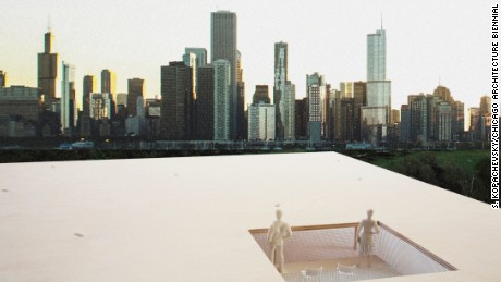 The Chicago Architecture Biennial also put together a Lakefront Kiosk competition, which invited architects to design a kiosk along the shore. Ultramoderne Architects were announced as the winners.