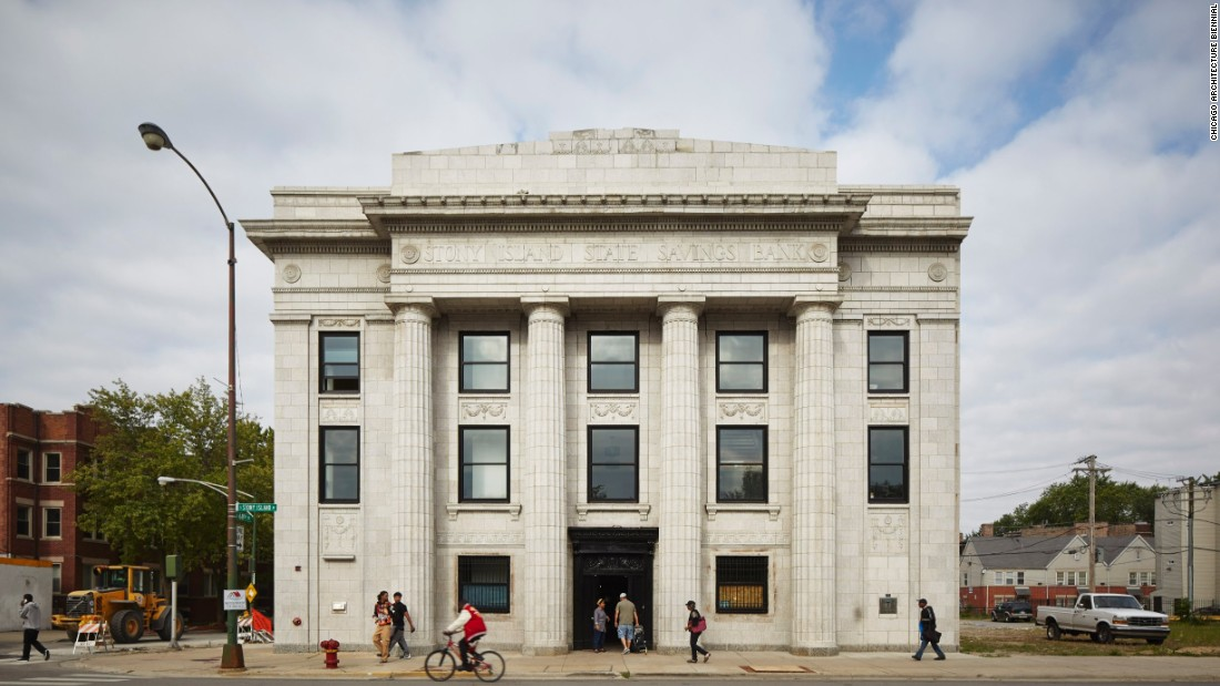 Designed in 1923, the Stony Island Trust & Savings Bank was originally set to be demolished, but was purchased by artist Theaster Gates for $1 in an effort to reconstruct it.