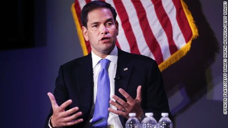 "Republican presidential candidate, Sen. Marco Rubio (R-FL) speaks at Civic Hall about the ""sharing economy"" on October 6, 2015 in New York City."