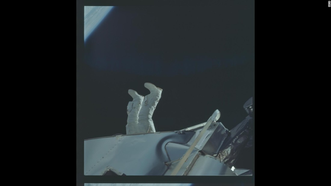 Astronaut Russell Schweickart's feet are seen during one of Apollo 9's spaceflights.