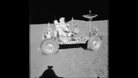Astronaut David Scott  in a Lunar Roving Vehicle during the Apollo 15 lunar mission in 1971. Samples brought back from that mission helped scientists determine there was water on the moon.