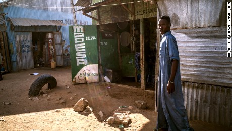 A young man in the market.