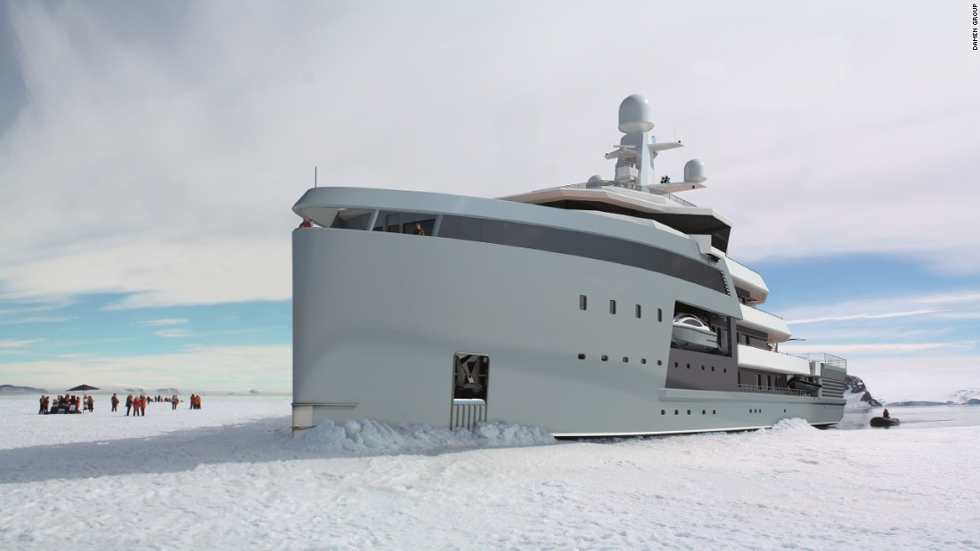 """Few vessels can break through ice and the ones that can are not luxury yachts, they're 'ice-bergers,' which are effective but not very comfortable,"" Caminada explains. ""With this concept, we have combined the two and added on superyacht accommodation for the owners to stay in."""