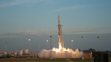 A NASA Terrier-Improved Orion suborbital rocket launches from Wallops Island, Virginia