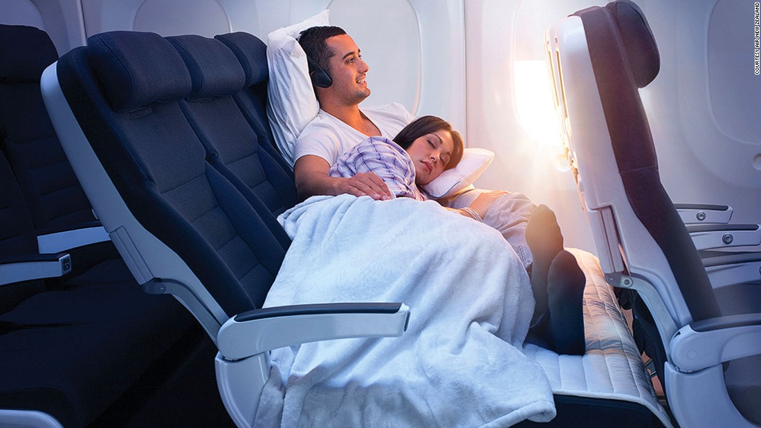 Air New Zealand was voted Airline of the Year for the third year in a row. It scored points for innovations like the Economy Skycouch (pictured): a row of three economy seats with footrests that lift to create a flexible space.