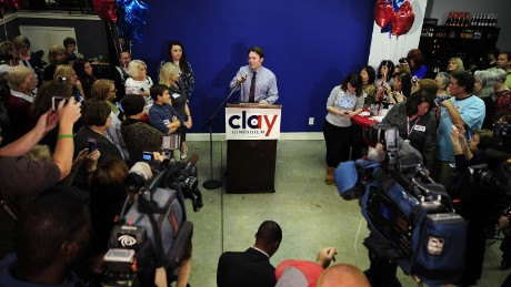 SANFORD, NC - NOVEMBER 4:   Clay Aiken, Democratic candidate for U.S. Congress in North Carolina's Second District, gives his concession speech during his election night party at Cafe 121 on November 4, 2014 in Sanford, North Carolina. Aiken, a former 'American Idol' contestant, ran for political office for the first time.  (Photo by Jeffrey A. Camarati/Getty Images)