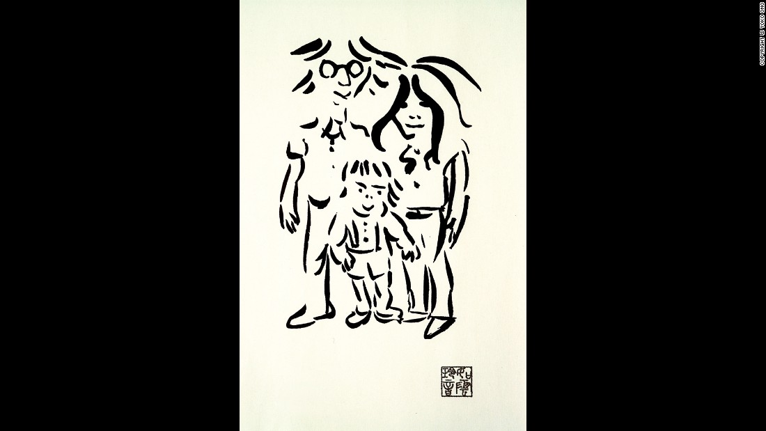 "Though he will always remain best known as a musician, John Lennon never tried to hide his fondness for the visual arts. He'd attended art college in Liverpool, after all, and he made sketches and caricatures at every opportunity. This 1977 work, ""Imagine Peace,"" captures him as a  contented family man with wife Yoko Ono and son Sean."