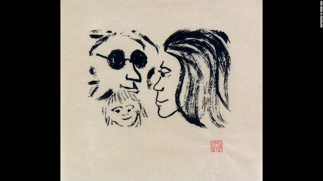 "After Sean was born in 1975, Lennon became a househusband, doting on his young son. ""I've attended every meal, and how he sleeps, and the fact he swims like a fish because I took him to the ocean,"" he said. ""I'm proud of all those things."" This 1978 work is called ""Family of Peace."""