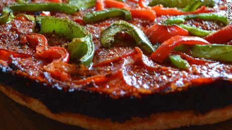 Pepperoni and green pepper deep dish.