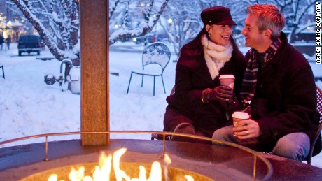 Beats the bus stop. Is there a cozier city park in the world than Aspen's outdoor fire pit?