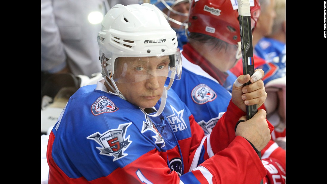 Russian President Vladimir Putin attends a Night Hockey League match on Wednesday, October 7, in Sochi, Russia. Putin spent his 63rd birthday playing hockey with NHL stars.