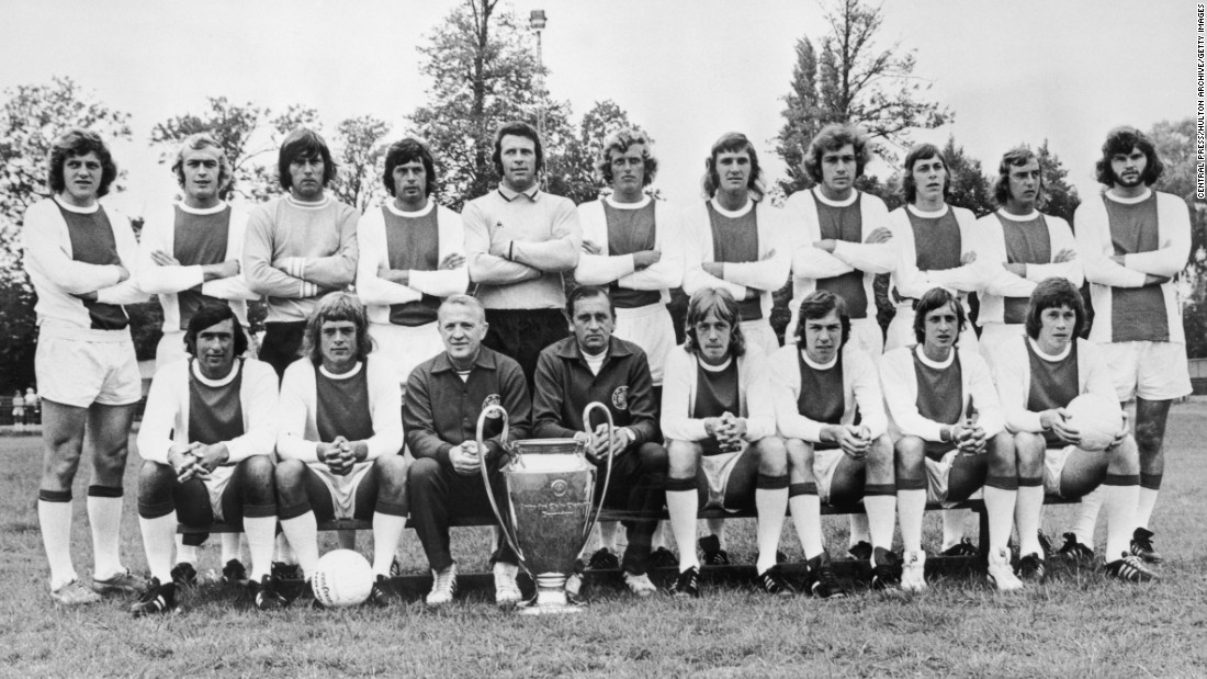The 1973 Ajax European Cup team poses for a photograph. Front row left to right, Sjaak Swart, Johnny Rep, coach Stephan Kovacs, trainer Bob Haarms, Ger Kleton, Jan Mulder, Cruyff and Gerrie Muhren. Back row, left to right, Arie Haan, Horst Blankenburg, Sies Wever, Wim Suurbier, goalkeeper Heinz Stuy, Piet Keizer, Ruud Krol, Heinz Schilcher, Arnold Muhren, Johan Neeskens and Barry Hulshoff.